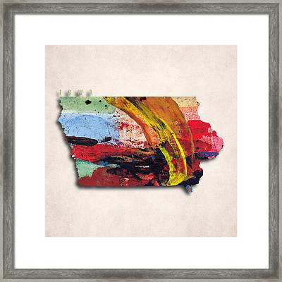 Iowa Map Art - Painted Map Of Iowa Framed Print by World Art Prints And Designs