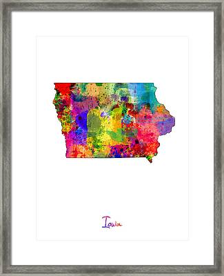 Iowa Map Framed Print by Michael Tompsett