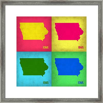 Iowa Pop Art Map 1 Framed Print by Naxart Studio