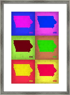 Iowa Pop Art Map 2 Framed Print by Naxart Studio