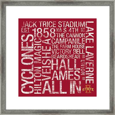Iowa State College Colors Subway Art Framed Print by Replay Photos