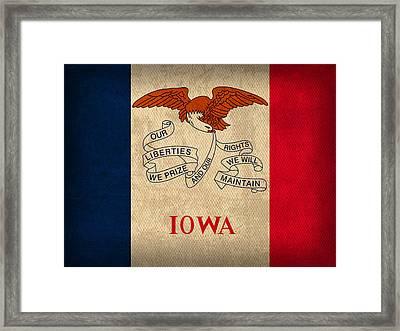 Iowa State Flag Art On Worn Canvas Framed Print by Design Turnpike