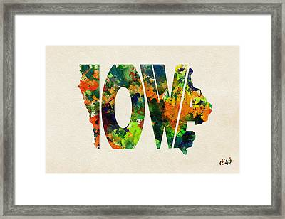 Iowa Typographic Watercolor Map Framed Print by Ayse Deniz