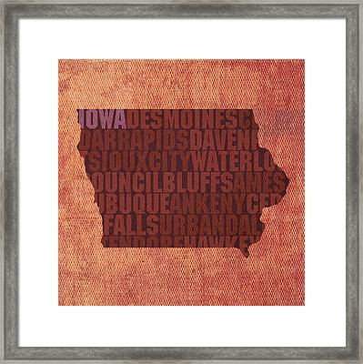 Iowa Word Art State Map On Canvas Framed Print by Design Turnpike