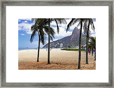 Ipanema Beach Palm Trees Framed Print