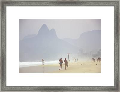 Ipanema Beach Scene, Rio De Janiero Framed Print