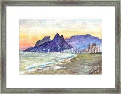 Sugarloaf Mountain And Ipanema Beach At Sunset Rio Dejaneiro  Brazil Framed Print