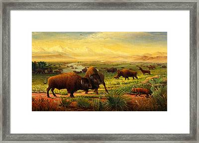 iPhone - Galaxy Case - Buffalo Fox Great Plains western Landscape oil painting - Bison - americana  Framed Print by Walt Curlee