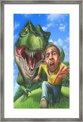 iPhone - Galaxy Case - Tyrannosaurus Rex Jurassic Park Dinosaur - T Rex - T-Rex Framed Print by Walt Curlee