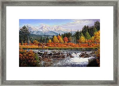 iPhone - Galaxy Case - Western Mountain Landscape Autumn Mountain Man Trapper Beaver Dam Framed Print by Walt Curlee