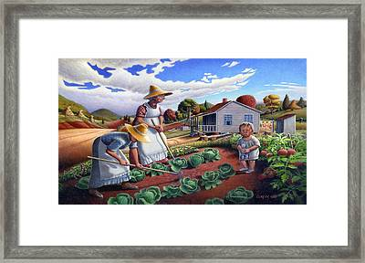 iPhone Case - Family Vegetable Garden Farm Landscape - Gardening - Homestead Framed Print
