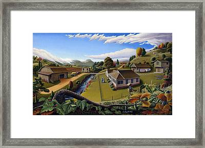 iPhone Case - Farm Folk Art Landscape - Appalachian Country Life Scene - Rural Americana Framed Print by Walt Curlee