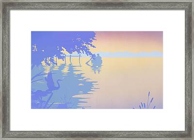 iPhone - Galaxy Case tropical boat Dock Sunset large pop art nouveau retro 1980s florida seascape Framed Print