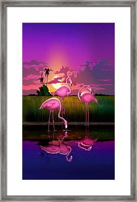 iPhone Case - Flamingoes Flamingos Tropical Sunset landscape florida everglades hot pink purple Framed Print by Walt Curlee