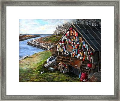 Ipswich Bay Wooden Buoys Framed Print by Eileen Patten Oliver