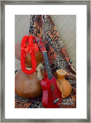 Ipu Heke And Red Ukulele And Red Satin Lei Framed Print by Mary Deal