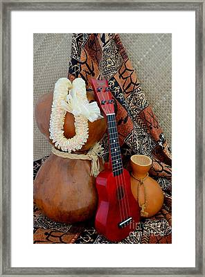 Ipu Heke And Red Ukulele With White Satin Lei Framed Print by Mary Deal