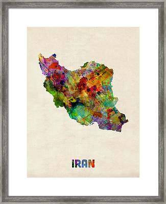 Iran Watercolor Map Framed Print by Michael Tompsett