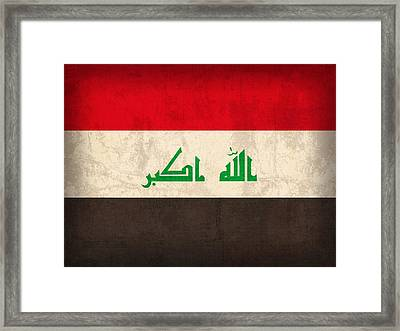 Iraq Flag Vintage Distressed Finish Framed Print by Design Turnpike