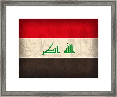Iraq Flag Vintage Distressed Finish Framed Print by Design Turnpike