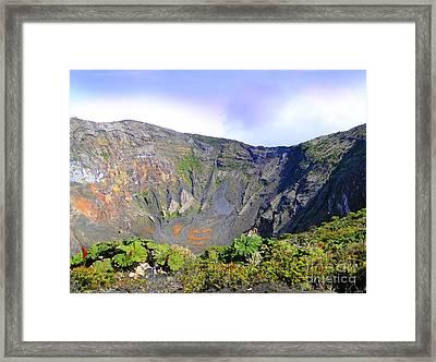 Irazu Volcano Crater - Costa Rica Framed Print by Al Bourassa
