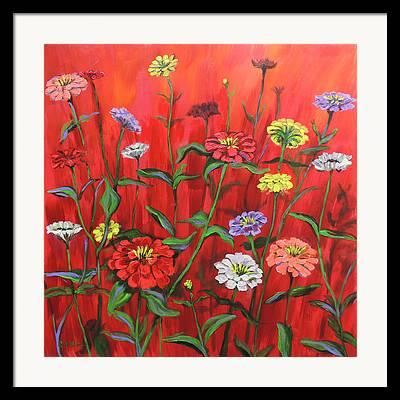 Red Geraniums Framed Prints