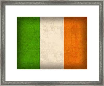 Ireland Flag Vintage Distressed Finish Framed Print