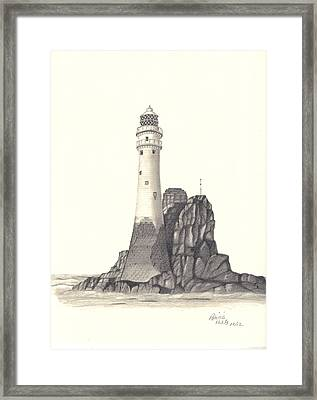 Framed Print featuring the drawing Ireland Lighthouse by Patricia Hiltz