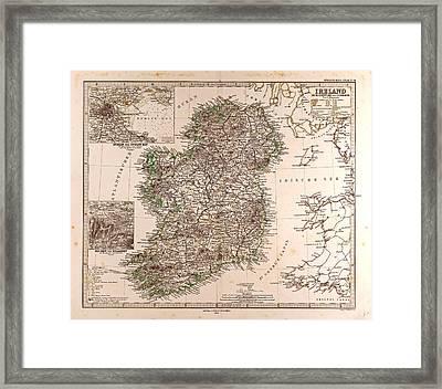 Ireland Map 1872 Gotha Justus Perthes 1872 Atlas Framed Print