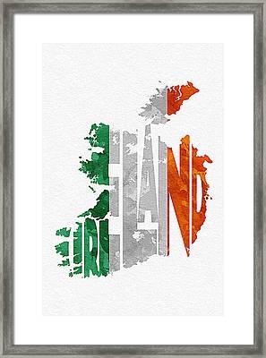 Ireland Typographic Map Flag Framed Print by Ayse Deniz