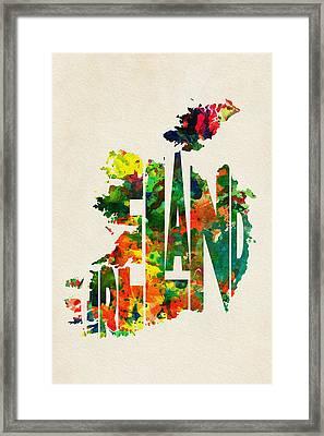 Ireland Typographic Watercolor Map Framed Print by Ayse Deniz
