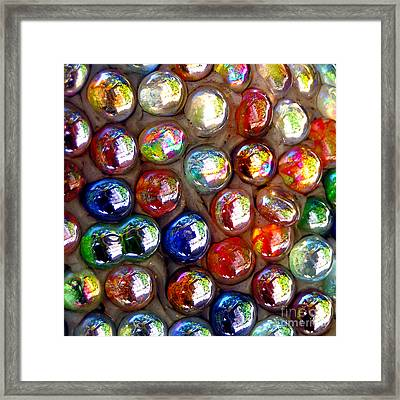 Iridescent Glass Marbles Mosaic Framed Print