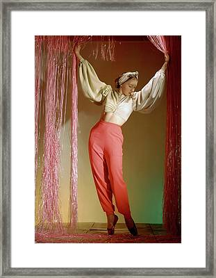Irina Baronova Under Curtains Framed Print by Horst P. Horst