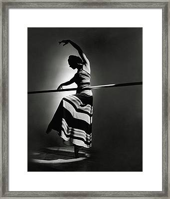 Irina Baronova Wearing A Stripes Framed Print by Horst P. Horst