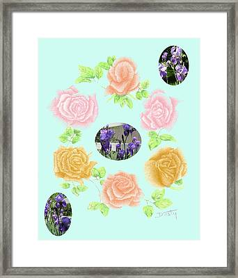 Iris Among Roses Framed Print by Dusty Reed
