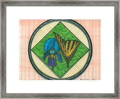 Iris And Butterfly Framed Print by Richie Montgomery