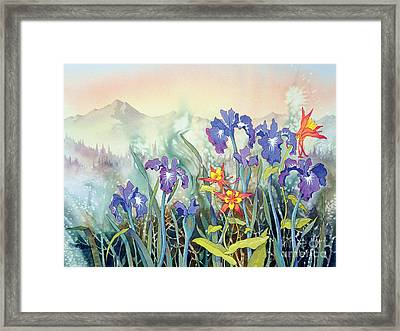 Framed Print featuring the painting Iris And Columbine II by Teresa Ascone