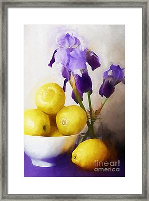 Iris And Lemons Framed Print by HD Connelly