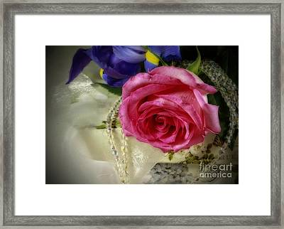 Iris And Rose On Vintage Treasure Box Framed Print by Inspired Nature Photography Fine Art Photography