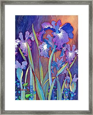 Framed Print featuring the mixed media Iris Bouquet by Teresa Ascone