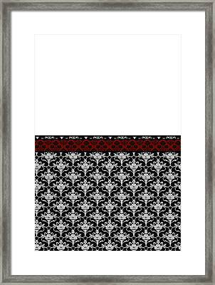 Iris Damask In Red Black And White Framed Print by Jenny Armitage