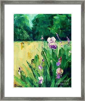 Framed Print featuring the painting Iris Field by Mary Lynne Powers