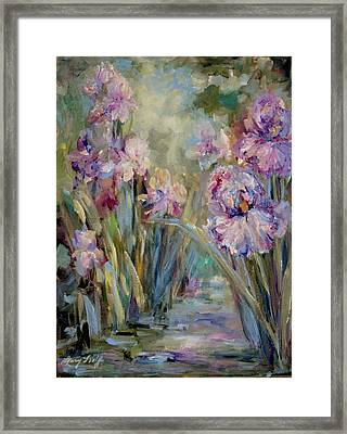 Framed Print featuring the painting Iris Garden by Mary Wolf