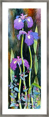 Framed Print featuring the painting Iris Tall And Slim by Teresa Ascone