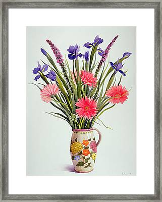Irises And Berbera In A Dutch Jug Framed Print by Christopher Ryland