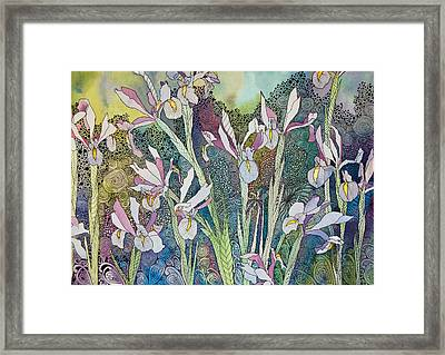 Irises And Doodles Framed Print