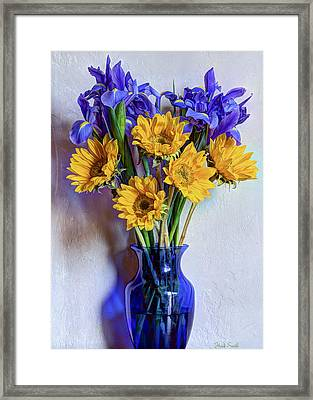 Irises And Sunflowers Framed Print by Heidi Smith