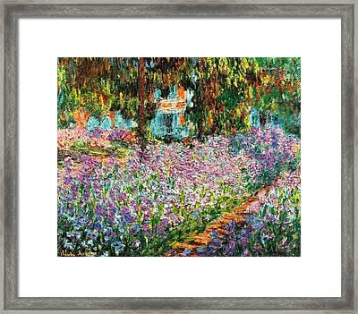 Irises In Monets Garden Enhanced Framed Print by L Brown