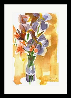 Irises With Stars Of Bethlehem Framed Prints