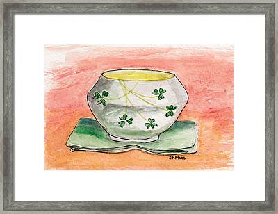 Irish Belleek And Linen Framed Print by Julie Maas